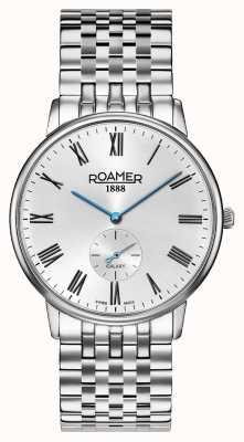 Roamer | Elemente der Männer Edelstahl-Silberarmband | schwarzes Zifferblatt | 650810-41-55-50