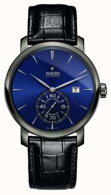 Rado | xl diamaster petite seconde | schwarzes Leder | blaues Zifferblatt | R14053206
