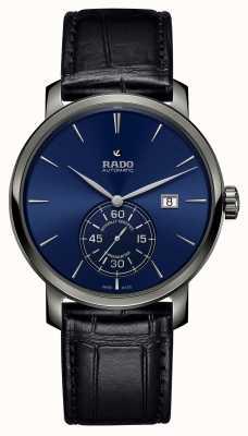 RADO Xl Diamaster Petite Seconde schwarz Leder blau Zifferblatt Uhr R14053206