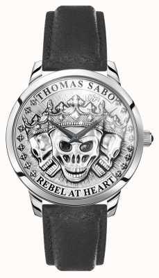 Thomas Sabo | Männer Rebellengeist 3D-Schädel | schwarzes Lederband | WA0355-203-201-42
