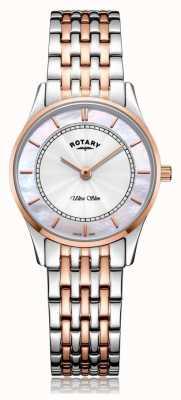 Rotary | ultraflaches zweifarbiges Damenarmband | Perlmutt | LB08302/07/D