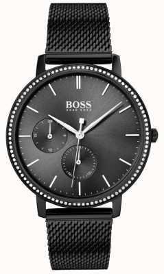 Boss | Unendlichkeit der Frauen schwarzes mesh armband | schwarzes Sunray-Zifferblatt 1502521
