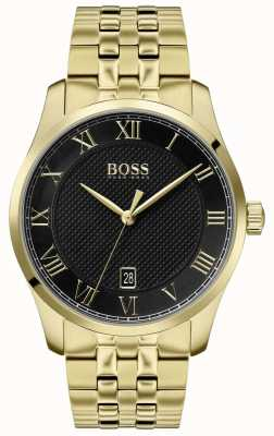 BOSS Meister | goldenes pvd armband | schwarzes Zifferblatt | 1513739
