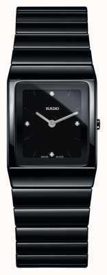 Rado | ceramica diamanten | quadratisches Zifferblatt | schwarzes keramik armband | R21702702