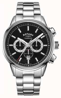 Rotary   herren cambridge chronograph   schwarzes Zifferblatt   rostfreier Stahl GB05395/04