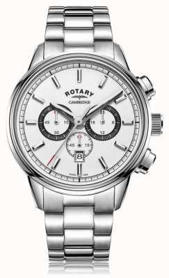 Rotary | Herren Cambridge Chronograph | weißes Zifferblatt | rostfreier Stahl GB05395/02