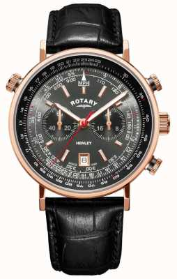 Rotary | Herren Henley Chronograph | graues Zifferblatt | schwarzes Leder | GS05237/20