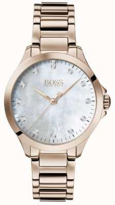 Boss | Diamanten für sie roségold | Perlmutt Zifferblatt 1502523