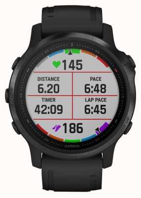 Garmin Fenix 6s Pro Gorilla Glas | Multisport-Smartwatch | schwarzes Kautschukband 010-02159-14