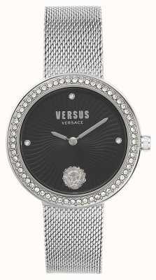 Versus Versace | Frauen léa | silbernes mesh armband | schwarzes Zifferblatt | VSPEN0719