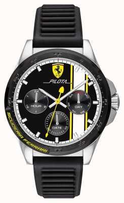 Scuderia Ferrari | Männerpiloten | schwarzes Kautschukband | schwarzes Chronographen-Zifferblatt 0830659