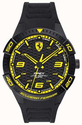 Scuderia Ferrari | Herrenspitze | schwarzes Kautschukband | schwarzes / gelbes Zifferblatt | 0830663