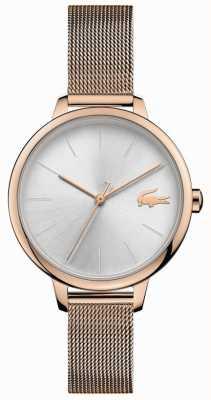 Lacoste | Dosen für Frauen Armband aus Champagnergeflecht | silbernes Zifferblatt | 2001103