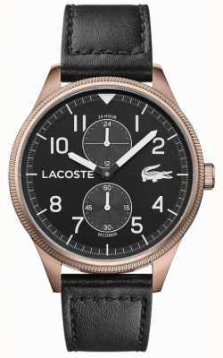Lacoste | Männerkontinental | schwarzes Lederband | schwarzes Zifferblatt | 2011042