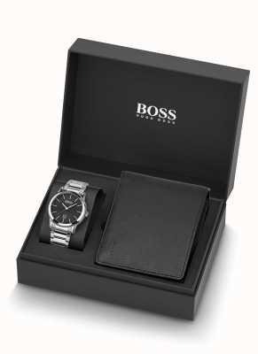 Boss   herren   uhr und schwarzes leder brieftaschenset   1570093