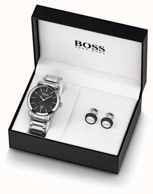 Boss | herren | schwarzes Uhr- und Manschettenknopfset | 1570091