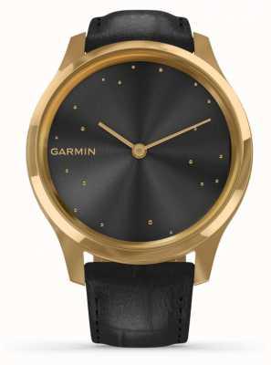Garmin Vivomove luxe | Pvd fall aus 24 kt gold | schwarzes italienisches Leder 010-02241-02
