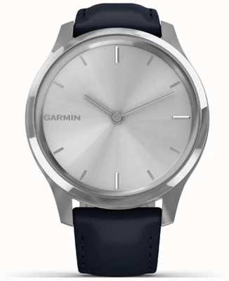 Garmin Vivomove luxe | Edelstahlgehäuse | dunkelblaues italienisches Leder 010-02241-00