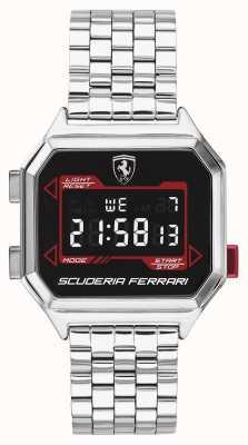 Scuderia Ferrari | Männer Digidrive | Edelstahlarmband | schwarzes Zifferblatt | 0830703