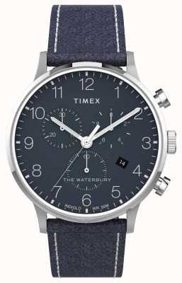 Timex | waterbury classic chrono 40mm | blaues Leder | blaues Zifferblatt | TW2T71300