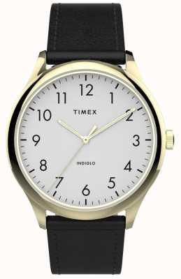 Timex | easy reader 40mm | schwarzes Lederband | weißes Zifferblatt | TW2T71700