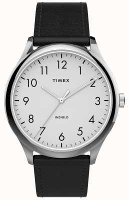 Timex | easy reader 40mm | schwarzes Lederband | weißes Zifferblatt | TW2T71800