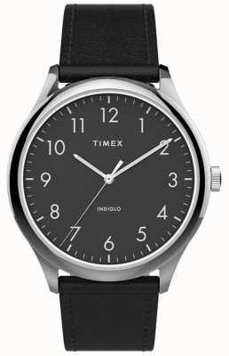 Timex | easy reader 40mm | schwarzes Lederband | schwarzes Zifferblatt | TW2T71900