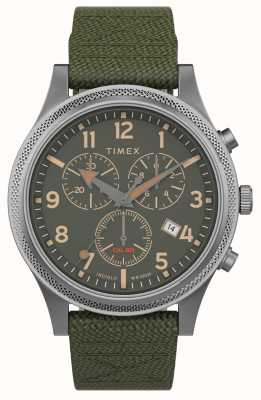 Timex   alliierte lt chrono 40mm   grünes Gewebeband   grünes Zifferblatt   TW2T75800