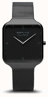 Bering   max rené   schwarzes stahlgitter armband   schwarzes zifferblatt   15836-123