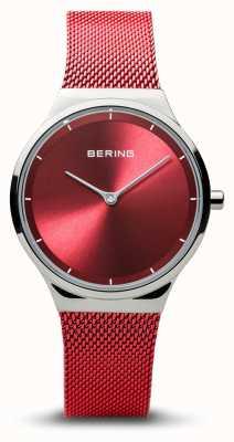 Bering | klassisch | damen silber poliert | rotes mesh armband | 12131-303