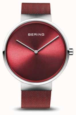 Bering | klassisch | silber poliert / gebürstet | rotes mesh armband | 14539-303