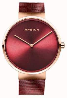 Bering | klassisch | poliertes / gebürstetes roségold | rotes mesh armband | 14539-363