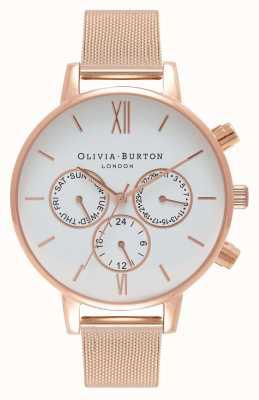 Olivia Burton Frauen | weißes Multi Zifferblatt | Rose Pvd Mesh OB16CG86
