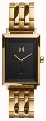 MVMT Unterschriftenquadrat | vergoldetes Armband | schwarzes Zifferblatt | D-MF03-GGR
