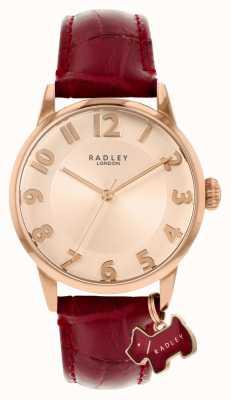 Radley Liverpool Straße | burgunder lederarmband | roségoldfarbenes Zifferblatt | RY2866