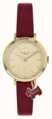 Radley Selby Straße | burgunder lederarmband | goldenes Zifferblatt | RY2862