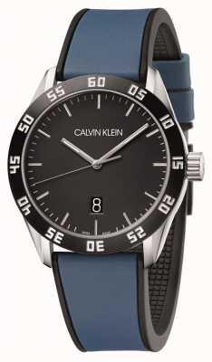 Calvin Klein | Männer konkurrieren | blaues Kautschukband | schwarzes Zifferblatt | K9R31CV1