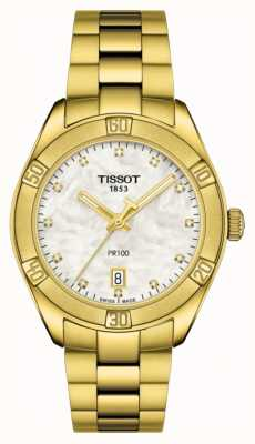 Tissot | pr 100 | vergoldetes Zifferblatt aus Edelstahl | Perlmutt T1019103311601