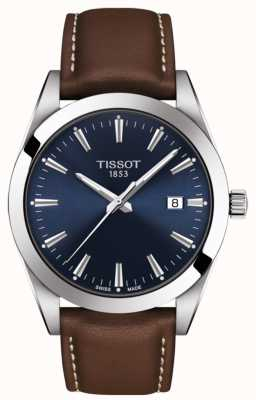 Tissot Gentleman | braunes Lederband | blaues Zifferblatt | T1274101604100