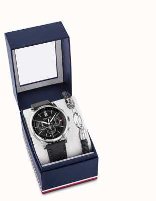 Tommy Hilfiger Geschenkset mit Uhr und Armband aus schwarzem Leder für Herren 2770058