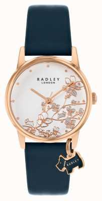 Radley Botanische Blumen | dunkelblaues Lederband | silbernes florales Zifferblatt | RY2880