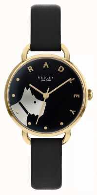 Radley Holzstraße | schwarzes Lederband | schwarzes zifferblatt hundemotiv | RY2876