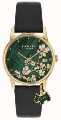 Radley Botanische Blumen | dunkelblaues Lederband | grünes florales Zifferblatt | RY2882