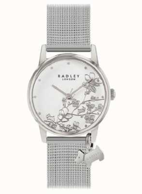 Radley Botanische Blumen | silbernes mesh armband | weißes florales Zifferblatt RY4401