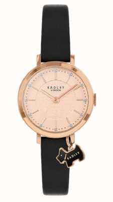 Radley Selby Straße | schwarzes Lederband | roségoldfarbenes Zifferblatt | RY2928