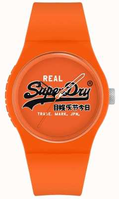 Superdry Urban original | orange Silikonarmband | oranges Druckzifferblatt | SYG280OB