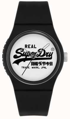 Superdry Urban original | schwarzes Silikonarmband | weißes Zifferblatt | SYG280BW