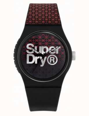 Superdry Urban Geo Sport | schwarz / rotes silikonband | schwarz / rotes Zifferblatt SYG268R