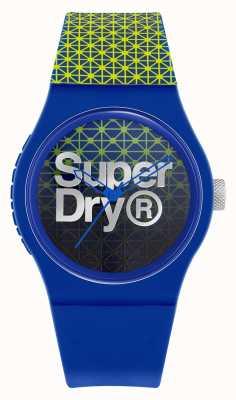 Superdry Urban Geo Sport | blau / grünes Silikonarmband | blau / grünes Zifferblatt SYG268UN