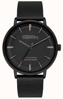 Superdry Ascot xl | schwarzes mesh armband | schwarzes Zifferblatt | SYG284BM
